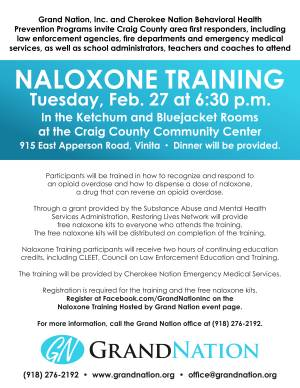 Craig County Area First Responders to Receive Naloxone Kits